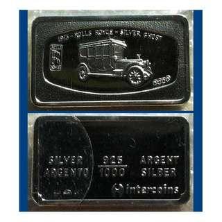 ♠ ITALY Intercoins - 1x 60g Grams (1.785 Oz T 999) Fine Silver Vintage Ingot Art bar (coins* ref)