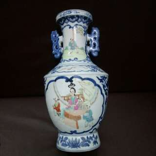 高40cm仿古帶耳青花粉彩人物瓶
