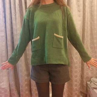 🚚 正韓 綠色撞色毛衣 上衣 #女裝88