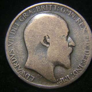 1908年大英帝國(Great Britain)不列顛尼亞女神坐像1/2便士(Penny)銅幣(英皇愛德華七世像)