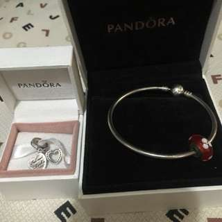 Authentic pandora bangle and charms