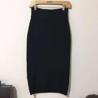 Aritzia Wilfred Free L Knit Midi Black Skirt