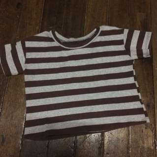Croptop Gray and Brown Stripes