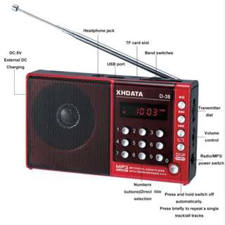 XHDATA D-38 FM Radio with mp3 player & speaker