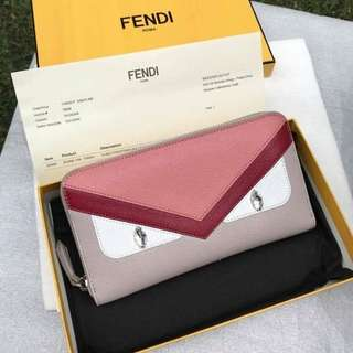 Fendi Monster Swarovski Eyes Zippy Wallet