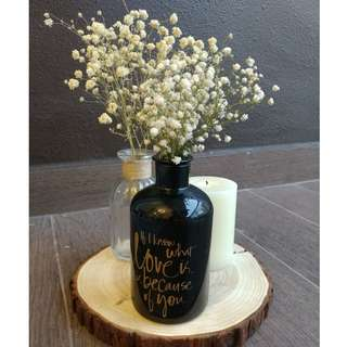 """glass bottle. vase. black. decor. wedding. """"If I know what love is, it is because of you."""""""