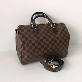 Louis Vuitton Speedy 30 Bandouliere Damier Ebene