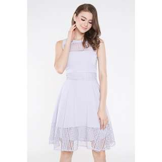 *INTQ LABEL* Astera Lace Panelled Flare Dress in Lilac