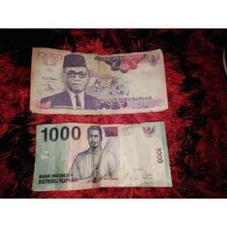 Duit lama Indonesia RM10.000 sepuluh rupiah/RM1000seribu rupiah