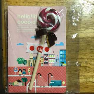 Cute notebook with lollipop pen