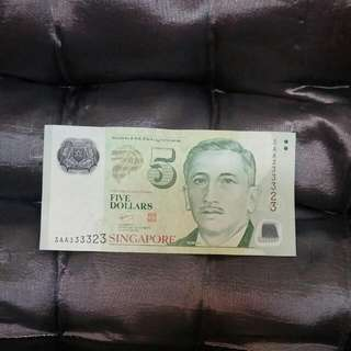 3AA 333323 $5 Used note.