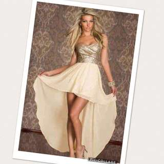 High-low dress - gold