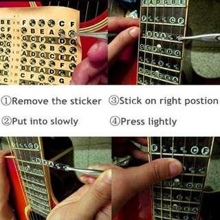 Guitar note guide sticker patse on fret