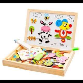 Educational toys Wooden magnetic puzzle board