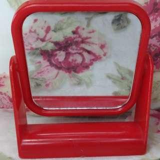 🚚 簡約高清素色單面鏡紅色邊框桌上鏡化妝鏡小鏡子