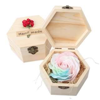 Handmade Wooden Box Rose Soap For Valentine's Day Birthday Celebration Gift