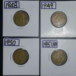 香港男皇壹毫(48年49年50年51年)四枚一組特價品相(市價$138)