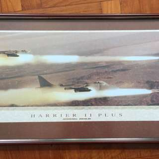 Framed Poster Fighter Jet Harrier AV-8B