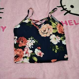 Crop Top Blue Floral