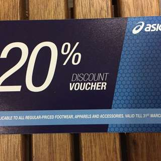 Asics 20%off discount card