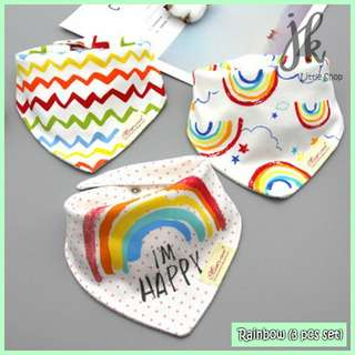 100% Cotton Mom's Care Baby Drool Bibs - Rainbow (3pcs Set)