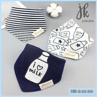 100% Cotton Mom's Care Baby Drool Bibs - Milk (3pcs Set)