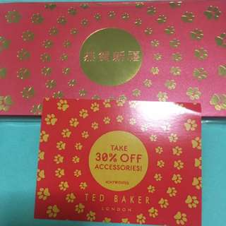 Ted baker red packet & vouncher
