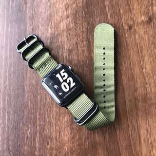 Apple Watch 42mm Strap - Nato Style Nylon Olive (Army Green)