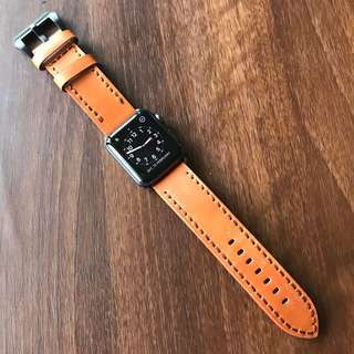 Apple Watch 42mm Strap - Genuine Leather Brown Handstitched
