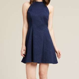 Navy Blue Halter Neck Cocktail Dress