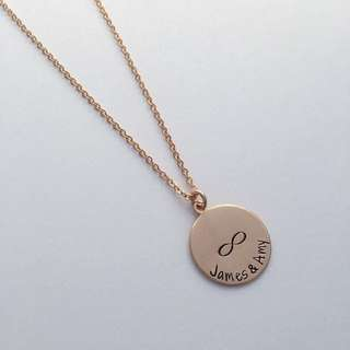 "NL053- Personalised Modern Necklace with ""James & Amy""+Inifinity Name Disc - Rose Gold /Gold/Rhodium Plated - Made To Order -Max 12 Alphabets"