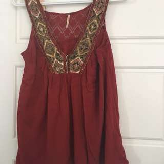 Free people beaded tank with lace back XS small red flowy