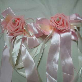Light pink wedding car ribbon