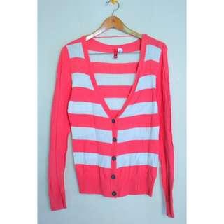 H&m red stripe cardigan