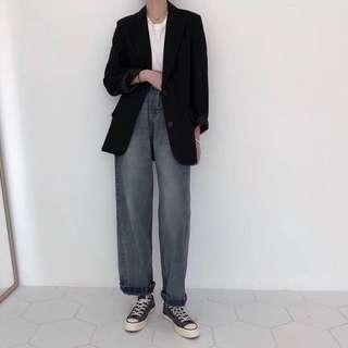 《早·衣服》2月旺新年🐶復古味男友風做舊高腰顯瘦捲邊寬鬆直筒牛仔褲(預)