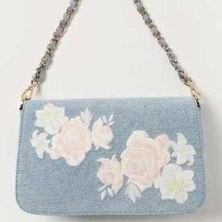 【預購】日本品牌 花朵 刺繡 森林系 單寧牛仔 側背包