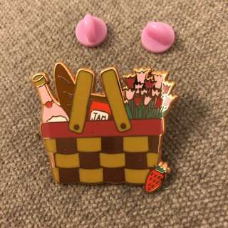Picnic Basket Enamel Pin Brooch