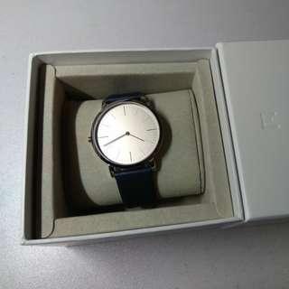 100% new dress watch with genuine leather strap (blue) 全新真皮腕錶