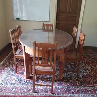 Antique Peranakan Teak wWood Dining Table with 6 Chairs