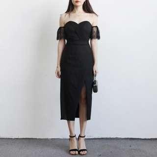 蕾絲露肩高腰包臀斜開叉中長裙洋裝小禮服