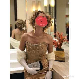Marilyn Monroe costume (curly wig, gown, earrings, gloves)