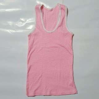 Sleeveless pink stripe