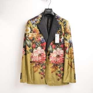 Dloice & Gabbana 絲質花西裝 (金色)