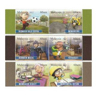 Malaysia 2012 Children's Hobbies set of 3 horizontal pairs Mint MNH SG #1921a, 1923a & 1925a