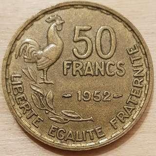 1952 France 50 Franc Coin