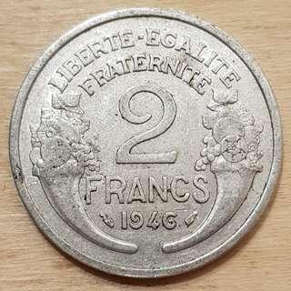 1946 France 2 Franc Coin