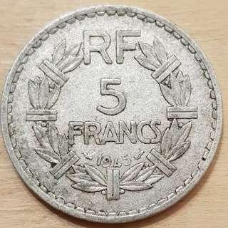 1945 France 5 Franc Coin