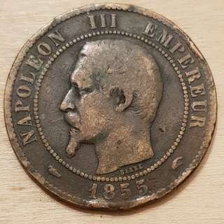 1855 Empire of France Napolean III 10 Centimes Coin