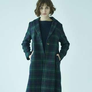 日本牌子 American Holic 深綠色 格仔 外套 大衣