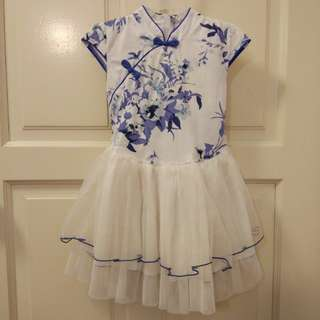 Kids Cheongsam tulle (White/Blue)